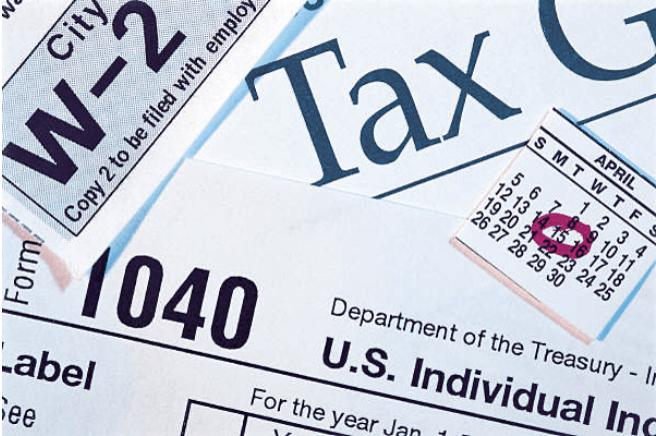 Closeup of tax documents