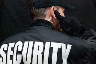 Close up of the back of security guard