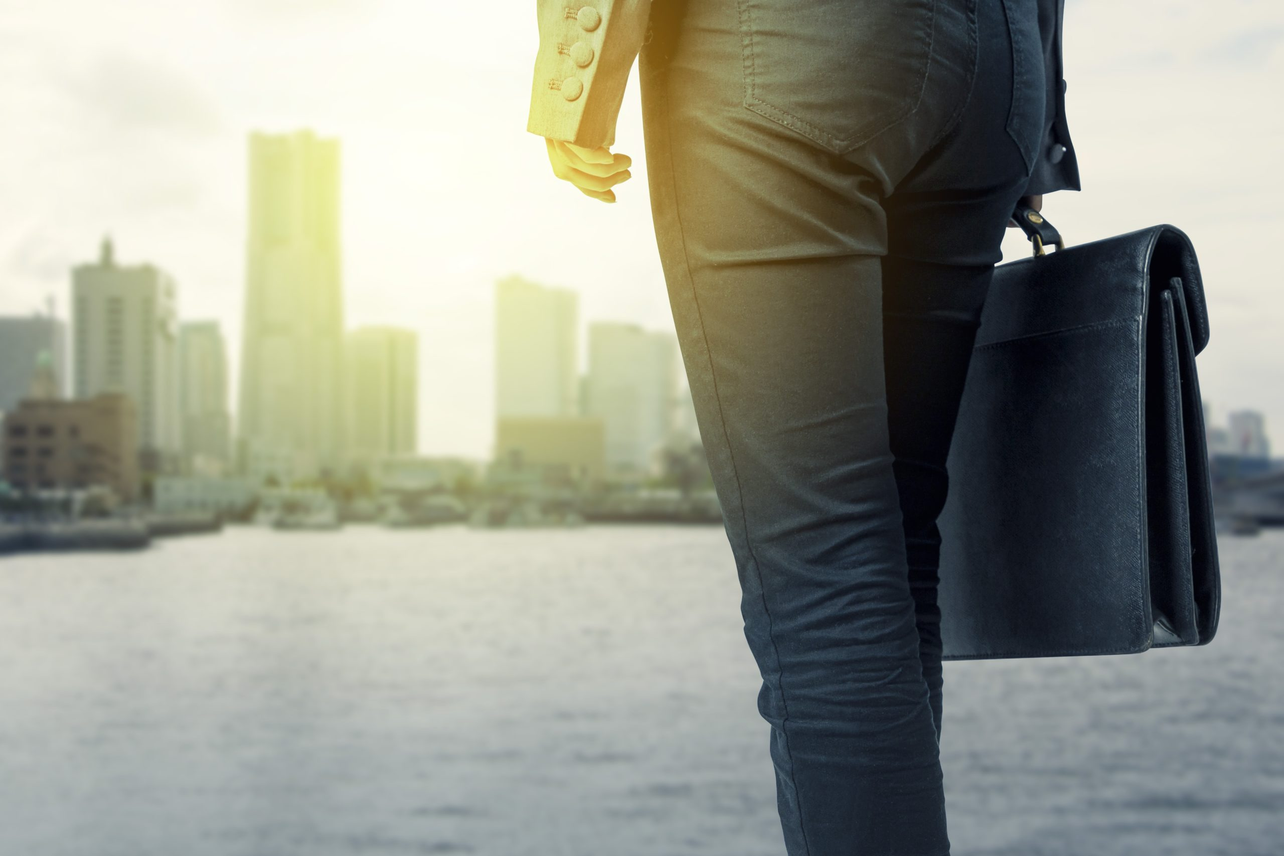 Close up of a person holding a briefcase in front of a harbor with a city in the background