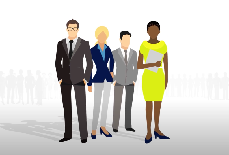 Cartoon outlines of a diverse group of business people. In the background is shadow outlines of other business people