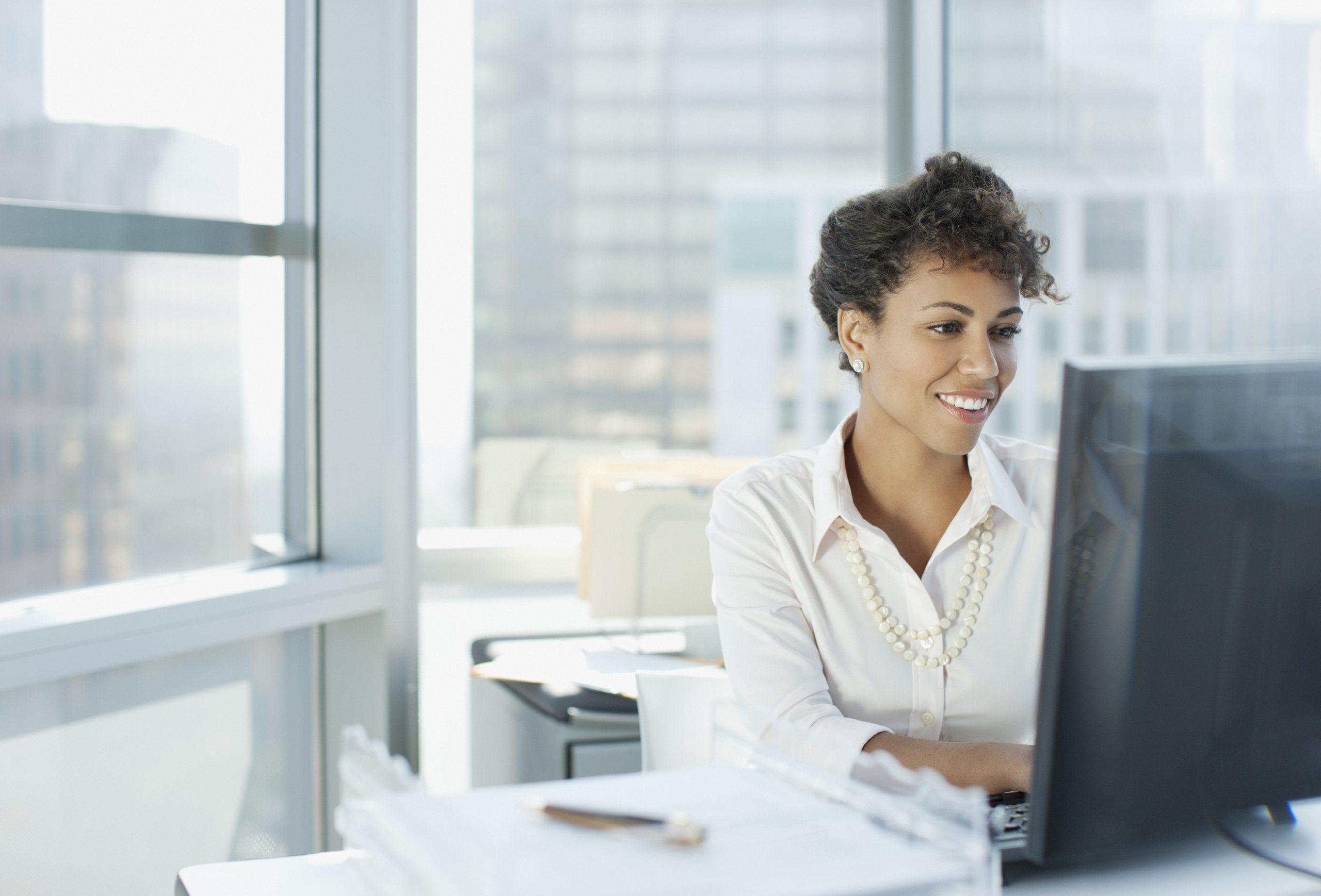 Businesswoman going through her daily routine